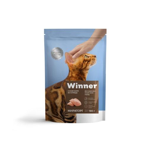Winner - полнорационный сухой корм для взрослых кошек всех пород из курицы 190 г