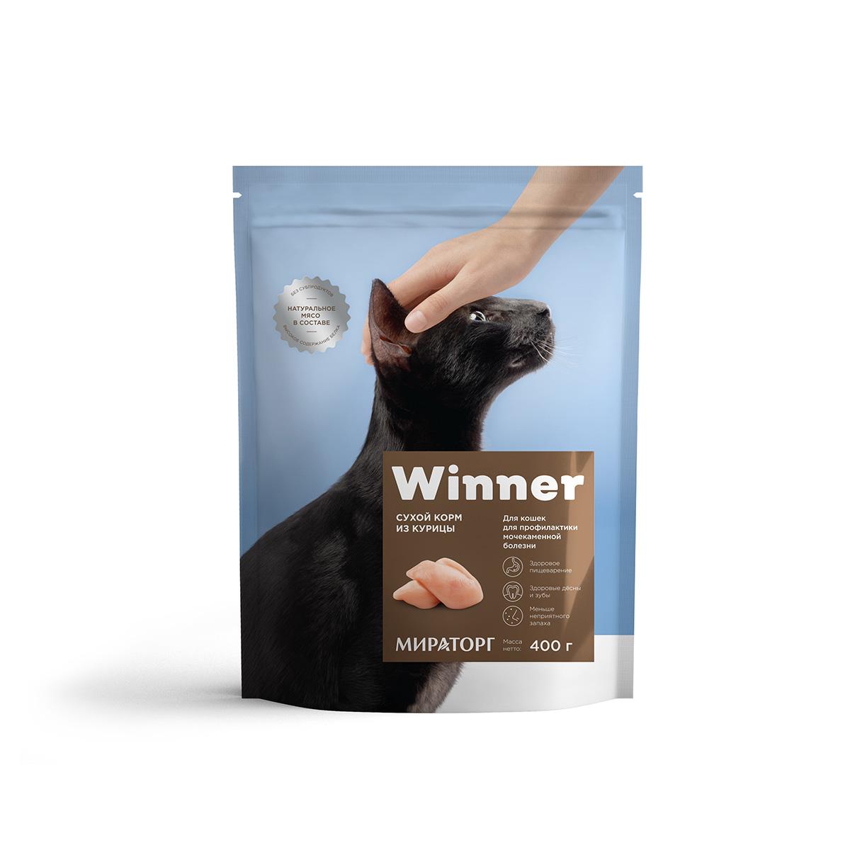 Полнорационный сухой корм для кошек с мочекаменной болезнью из курицы 400 г
