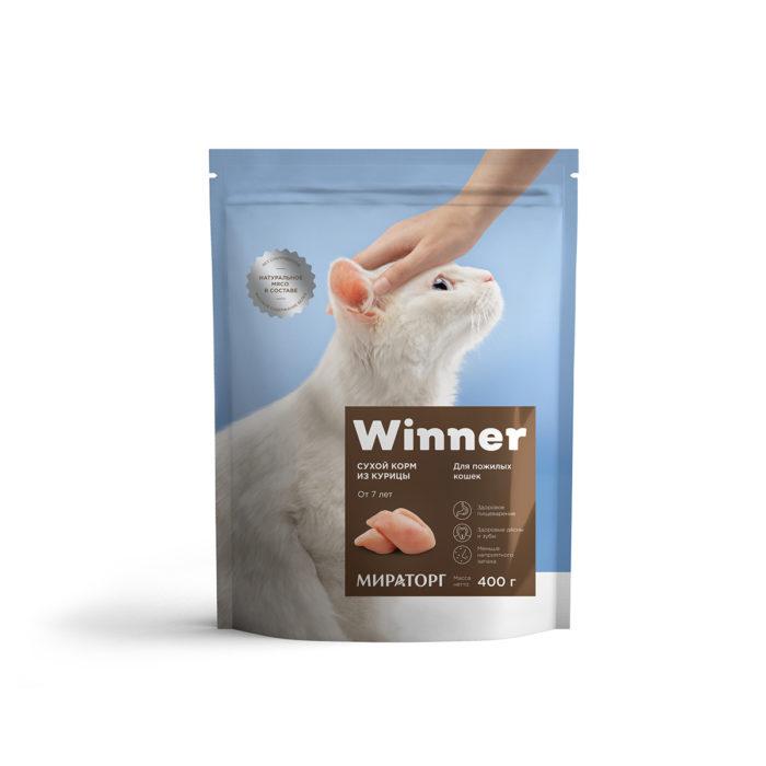 Полнорационный сухой корм для пожилых кошек из курицы 400 г