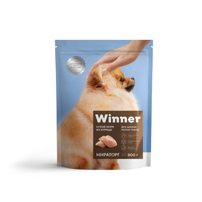 Полнорационный сухой корм для щенков мелких пород из курицы 800 г