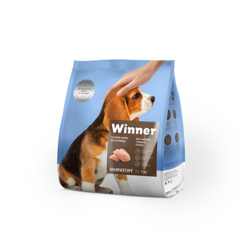 Полнорационный сухой корм для щенков средних пород из курицы 1 кг