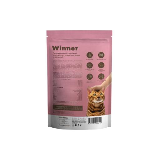 Полнорационный сухой корм для взрослых кошек всех пород с говядиной 190 г