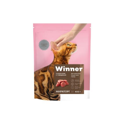 Полнорационный сухой корм для взрослых кошек всех пород с говядиной 400 г