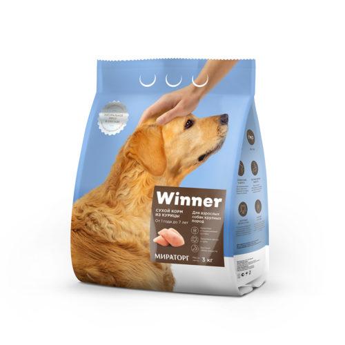 Полнорационный сухой корм для взрослых собак крупных пород из курицы 3 кг