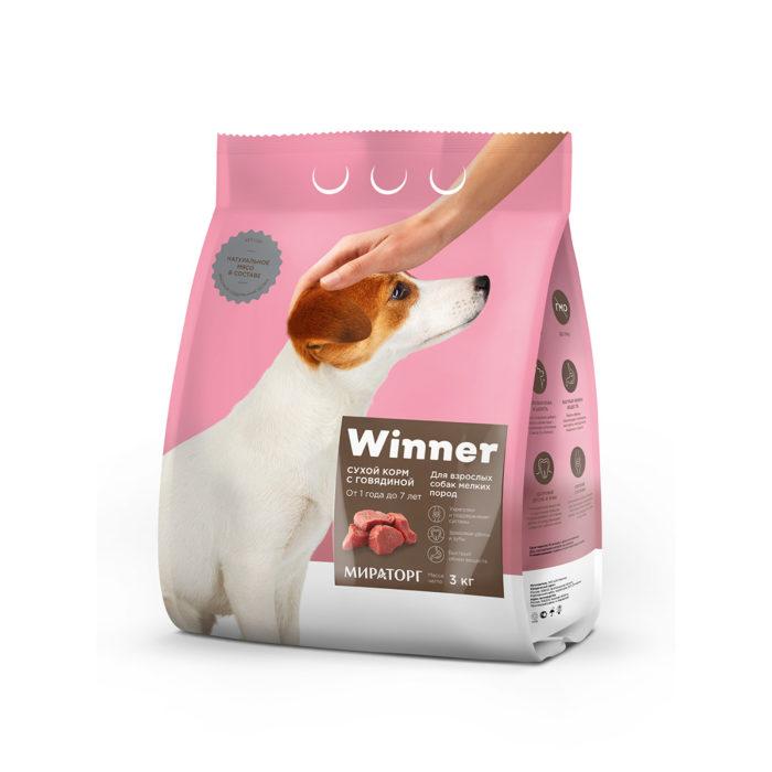 Полнорационный сухой корм для взрослых собак мелких пород с говядиной 3 кг
