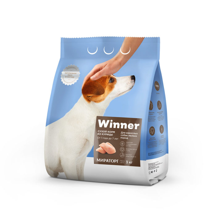 Полнорационный сухой корм для взрослых собак мелких пород из курицы 3 кг