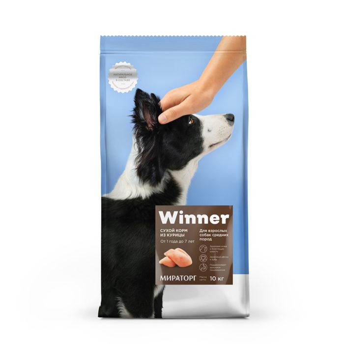 Полнорационный сухой корм для взрослых собак средних пород из курицы 10 кг
