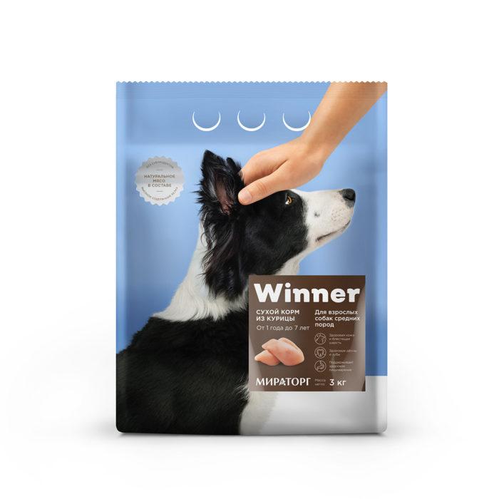Полнорационный сухой корм для взрослых собак средних пород из курицы 3 кг